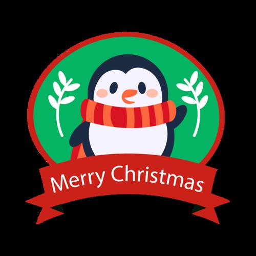 圣诞企鹅徽章图案