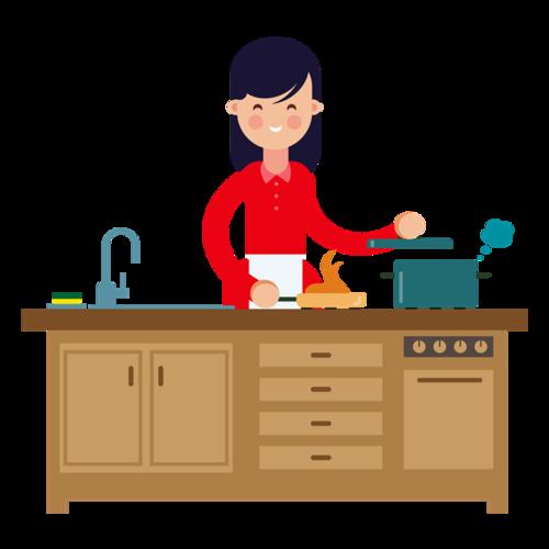 做饭的家庭主妇卡通图片
