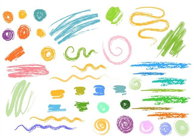 手绘蜡笔涂鸦元素笔触
