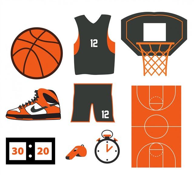 篮球元素矢量图片