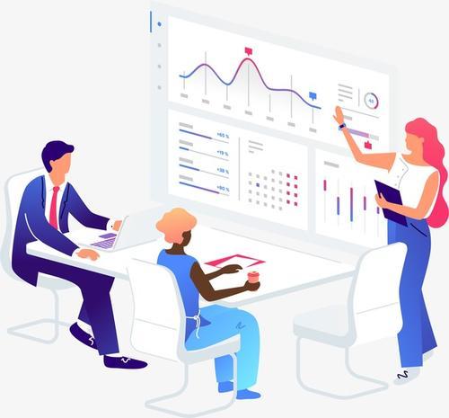 科技金融商务办公立体插画