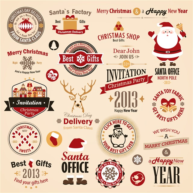 复古圣诞节标签矢量图