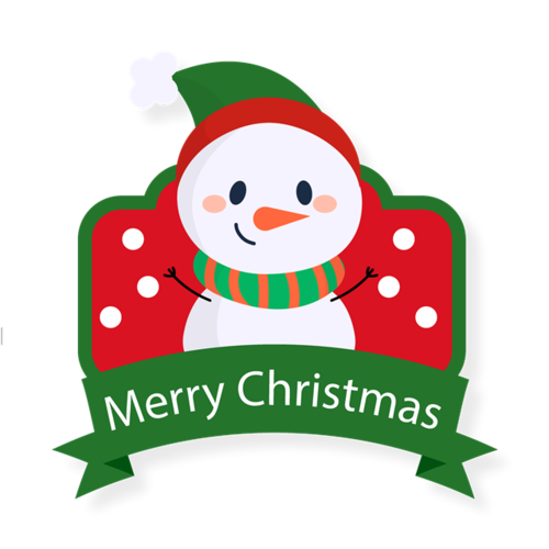 卡通圣诞雪人标签
