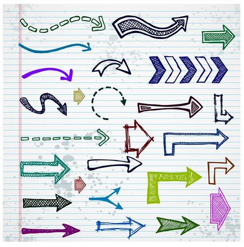 手绘涂鸦箭头图形
