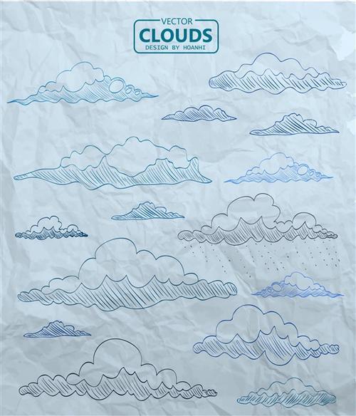 白云轮廓手绘简笔画