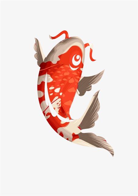 锦鲤鱼手绘图片