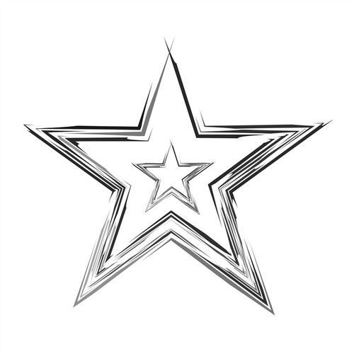 手绘素描五角星logo图片
