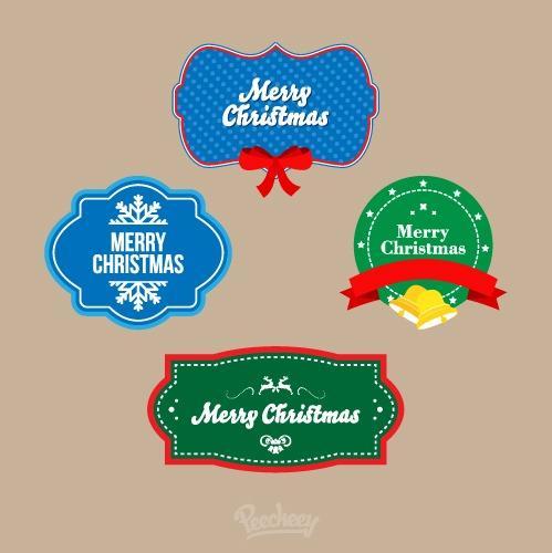 圣诞快乐卡通贴纸标签