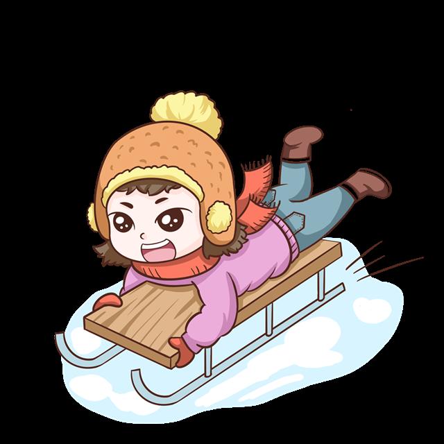 冬季滑雪的女孩卡通图片