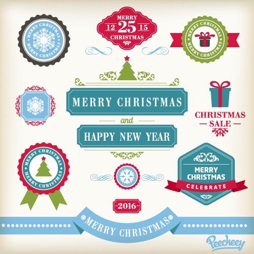 圣诞元素标签图案