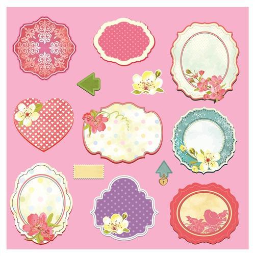 粉色花卉心形标签边框