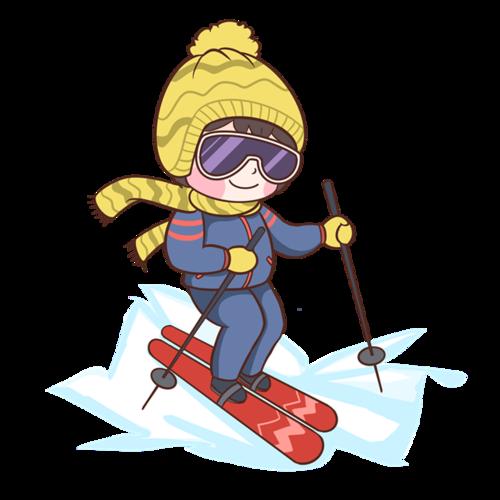 冬季滑雪的女孩插画