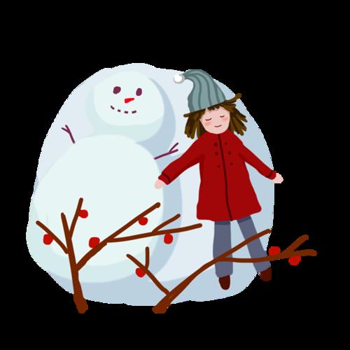 可爱卡通冬季雪人插图
