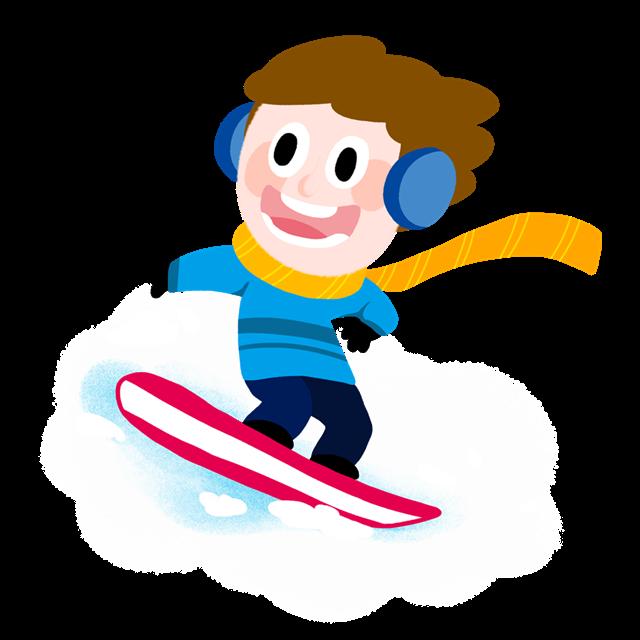 滑滑板的卡通人物插图