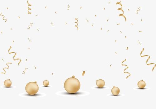 金色彩带圣诞球漂浮元素
