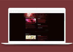 玫瑰花朵主题作品展示个人博客模板