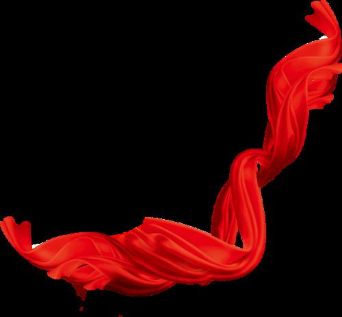 矢量红绸飘带漂浮元素