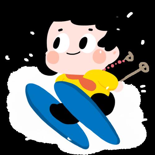 户外滑雪卡通人物插图