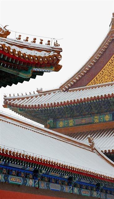 冬至故宫红墙雪景图片
