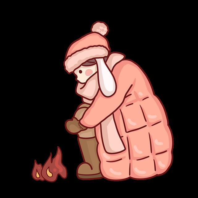 冬天烤火女孩卡通图片