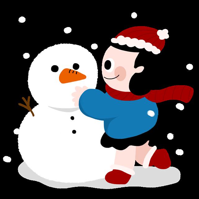卡通堆雪人手绘插画