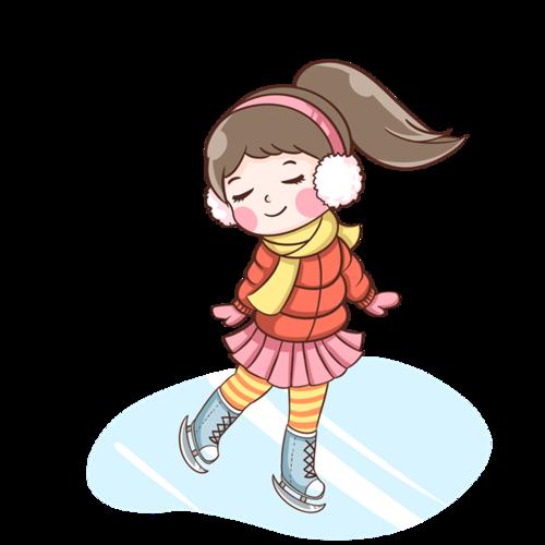 冬季溜冰的女孩卡通插图
