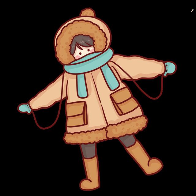 冬天厚衣服女孩卡通图片