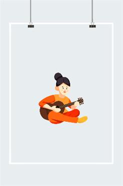 弹吉他的女孩卡通图片