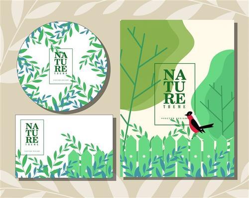 自然艺术明信片信封设计