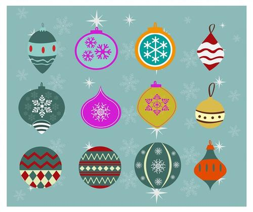 手绘圣诞彩球插画元素