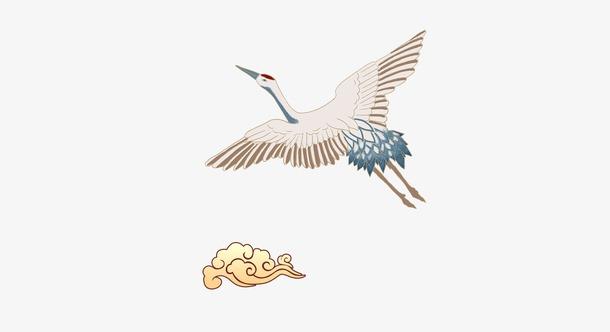 国潮飞翔仙鹤