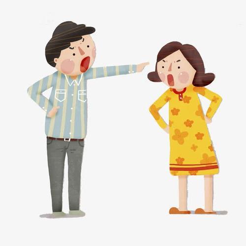 吵架的男女卡通图片