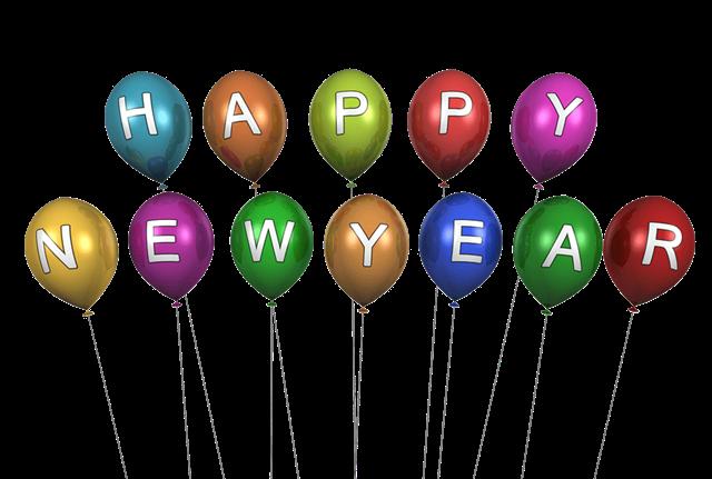 happy new year字母气球