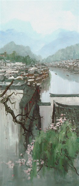 江南古镇水墨画