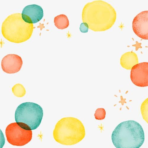 水彩泡泡点缀边框