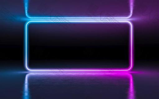 霓虹灯空间感科技背景