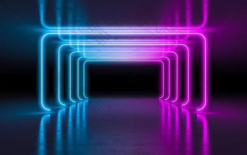抽象科技风霓虹幻彩背景图