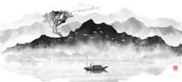 水墨山脉江水背景