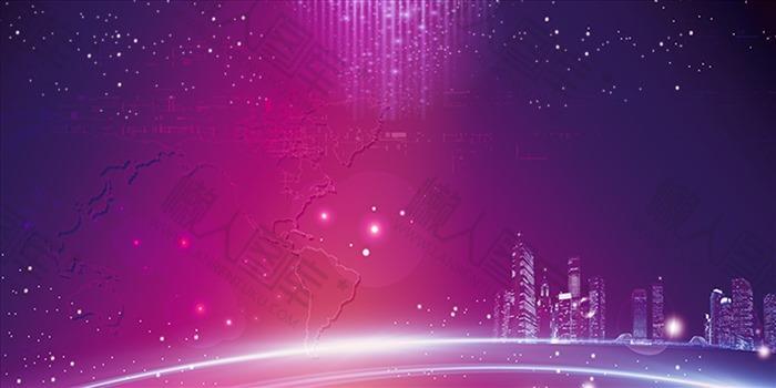 大气科技风年会展板背景图