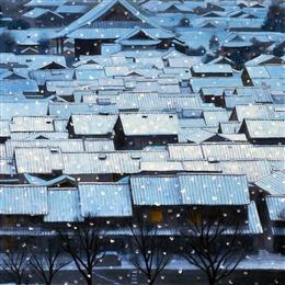 雪中建筑背景图