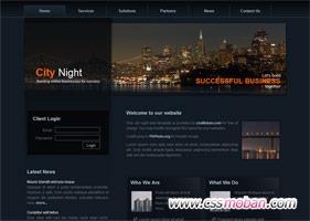 暗蓝色企业网站模板