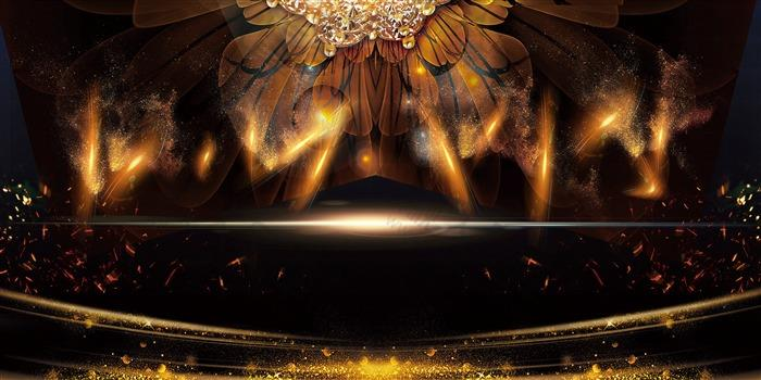 金色高级科技风展板背景图