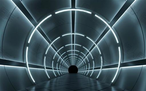 科技风空间隧道背景图