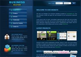 深蓝色企业html5网站模板