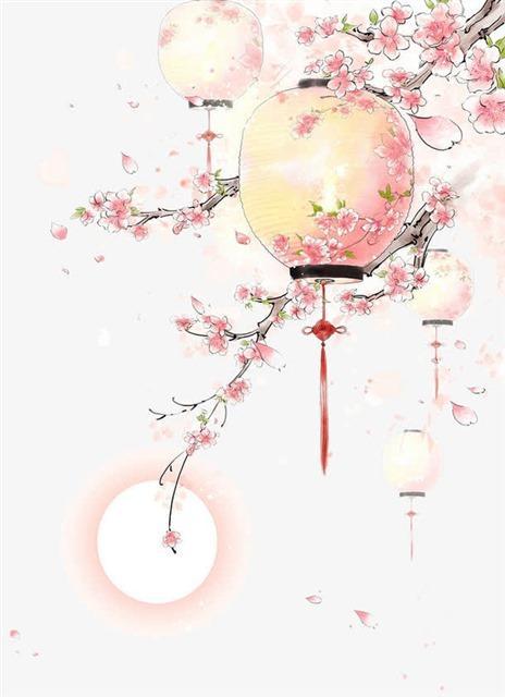 桃花枝头灯笼