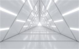 白色三维科技隧道背景