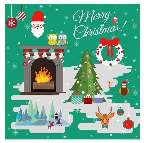 圣诞主题手绘矢量插画