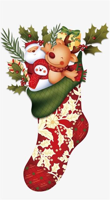 精美卡通手绘圣诞袜