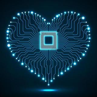 创意心形电路板科技背景