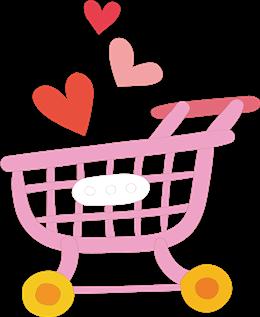 粉色卡通购物车矢量图